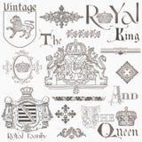 Set av element för tappningroyaltydesign royaltyfri illustrationer