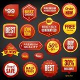 Set av emblem och etiketter stock illustrationer