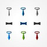 Set av en tie och bowsymboler Royaltyfri Fotografi