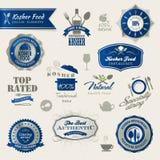 Set av etiketter och element för kosher mat stock illustrationer