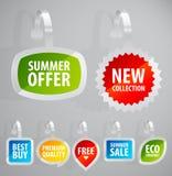 Set av färgrika annonserande etiketter. Royaltyfria Bilder
