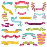 Set av färgrika band vektor illustrationer