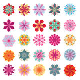 Set av färgrika blommasymboler Arkivbild