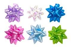Set av färgrika bows. Fotografering för Bildbyråer