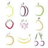 Set av färgrika fruktsymboler Royaltyfri Fotografi