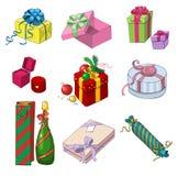 Set av färgrika gåvapackar Arkivbild