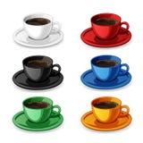 Set av färgrika kaffekoppar Arkivfoton