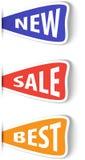 Set av färgrika klibbiga etiketter för shopping Royaltyfri Bild