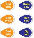 Set av färgrika klibbiga etiketter för shopping Arkivfoto