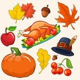 Set av färgrika tecknad filmsymboler för tacksägelsedag Arkivfoto