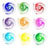 Set av för färger grunge swirly Arkivfoto