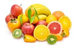 Set av frukter som isoleras på vit bakgrund Royaltyfria Bilder