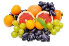 Set av frukter som isoleras på vit bakgrund Arkivbild