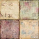 Set av fyra sjaskiga texturerade bakgrunder för tappning Royaltyfri Bild