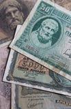 Set av gammala Grekland sedlar Arkivfoto