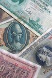 Set av gammala Grekland sedlar Arkivfoton