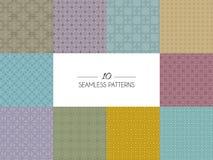 Set av geometriska seamless modeller stock illustrationer