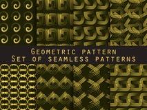Set av geometriska seamless modeller Guling- och svartfärg För tapet sänglinne, tegelplattor, tyger, bakgrunder Royaltyfri Foto