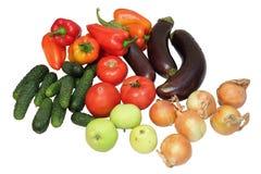 Set av grönsaker på vit bakgrund Arkivbilder