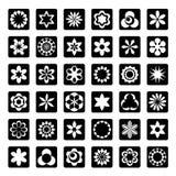 Set av grafiska blom- symboler Royaltyfri Fotografi