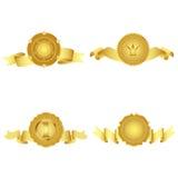 Set av guld- designelement. Arkivbilder