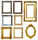 Set av guldbildramen Arkivfoton