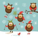 Set av gulliga owls för vektor Fotografering för Bildbyråer
