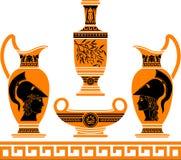 Set av hellenic vases Fotografering för Bildbyråer