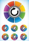 Set av hjuldiagram med delar Royaltyfri Foto