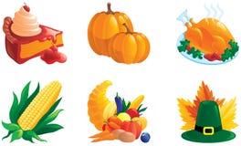 Set av illustrationer för tacksägelse Arkivbild