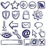 Set av internetrengöringsduksymboler Fotografering för Bildbyråer