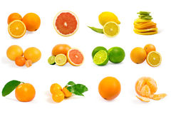 Set av isolerade frukter Arkivbild