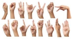Set av isolerade göra en gest händer…, Fotografering för Bildbyråer