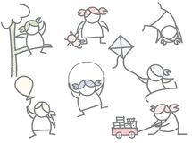Set av joyful flickaungespelrum royaltyfri illustrationer