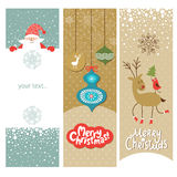 Set av jul och nya år baner Arkivfoto