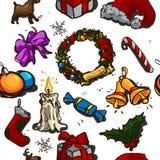 Set av julelement Arkivbild