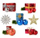 Set av julgåvor och garneringar Royaltyfri Bild