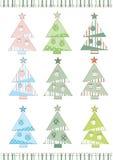 Set av julgranar Arkivfoton