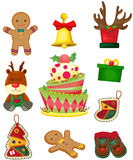 Set av julobjekt Arkivfoton