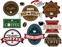 Set av kaffeetiketter Fotografering för Bildbyråer