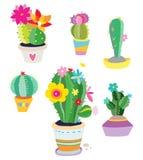 Set av kaktusväxter Royaltyfri Fotografi