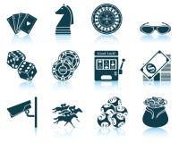 Set av kasinosymboler stock illustrationer