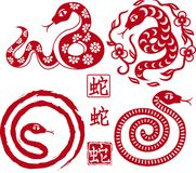 Set av kines utformade ormar som symbol av året Arkivbilder