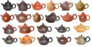 Set av kinesiska teapots Arkivbild