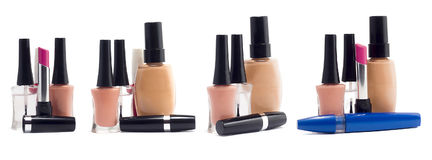 Set av kosmetiska produkter Arkivfoto
