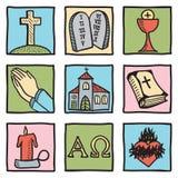 Set av kristendomensymboler Arkivbilder
