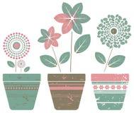 Set av krukväxter Royaltyfri Fotografi