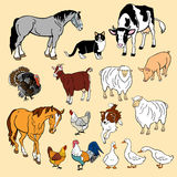 Set av lantgårddjur Arkivbild