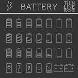 Set av level indikatorer för batteriladdning moderiktigt vektor illustrationer