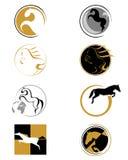 Set av logoer med en häst Royaltyfria Bilder